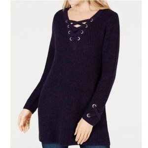 STYLE & CO Lace-Up Tunic Sweater